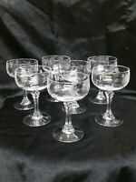 VINTAGE Princess House Crystal Champagne Coupes Etched Mint set of 7