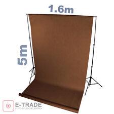 BRAUN brown - Hintergrund 1.6m x 5m Lang ! mit Pappröhre FOTOHINTERGRUND