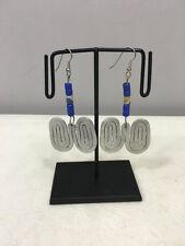 Sandcast African Masai Bead Earrings Earrings Aluminum Double Coiled Blue Green