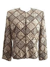Adrianna Papell Womens Silk Dress Jacket Brown Black Animal Print Sequins Sz 12