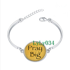 Pray Big - Religious glass cabochon Tibet silver bangle bracelets wholesale