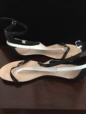 Calvin Klein Flats Black and White 7M Strappy
