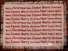 Deck the Halls, Y'all! Merry Christmas - Burlap Fringe Edge Place Mats Set of 6