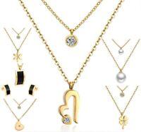 Doppel Halskette Herz Blume Kleeblatt Kreuz Anhänger Edelstahl Silber Gold Damen