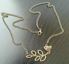 22.5 inch Long Bronze Retro Tiny Baby Sparow Love Bird and Leaf Necklace Jewelry