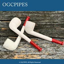 """NEW CLAY PIPE - 5"""" RED TIPPED #43 - SET OF 3 PIPES"""