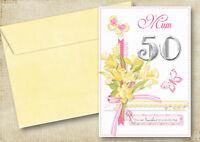 MUM,GRAN 30th 40th 50th 60th 70th 80th PERSONALISED BIRTHDAY CARD DAFFODILS