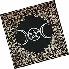 Altar Tarot Cloth Triple Moon Goddess Pentagram Pentacle Gold Silver Black 24x24