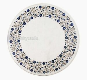"36"" Marble Dining Table Top Lapis Lazuli Inlay Work Hallway table for Home Decor"