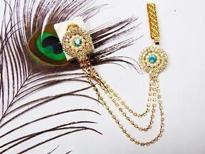 Indian Saree Pin Golden Hip Chain Sari Brooch CZ Side Waist Belt Mother Day Gift