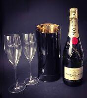 Moet Chandon Imperial Champagner Flasche 0,75 12% Vol + 2 Gläser + Metall Kühler