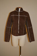 Womens Sans Souci Dark Brown & Ivory Suede Sherpa Jacket/Coat~X-Small/Small