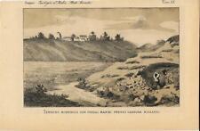 Stampa antica CASSINA RIZZARDI veduta e terreno morenico Como 1883 Old print