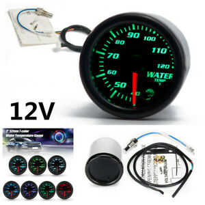 "Universal 12V Car SUV 2"" 7 Colors LED Water Coolant Temperature Temp Gauge+Cable"