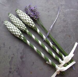 Lavender Filled Handwoven Wands 3 Medium Ivory White Double Sided Satin Ribbon