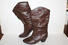 Soda Slouch Boots, Brown, Manmade, Women's US Size 8.5