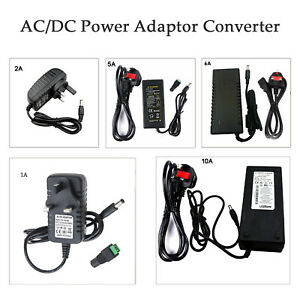 DC12V Power Supply Adapter UK 3 Pin AC-DC Safety Charger CCTV/LED Strip 1A-10A