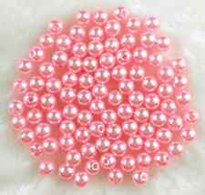 free ship 200Pcs 6mm Pink  Acrylic Round Pearl Spacer Loose Beads