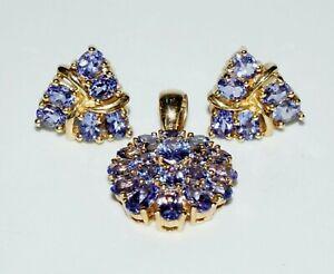 3Pc 14k Yellow Gold Pendant & Earrings w. & 33x Tanzanite Accents (SaR)#296