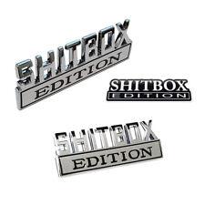 2pc Shitbox Edition Chrome emblem Badges fits Chevy Ford Car Truck