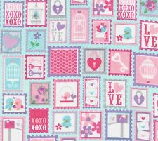 Lovey Dovey Heart, Flower Stamps Aqua Fabric - End of Roll Remnant 69cm x 110cm