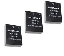 THREE 3X BP-DC8 BPDC8 Batteries for Leica X1 X2 Digital Camera