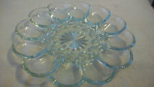 VINTAGE GLASS DEVILED EGGS SERVING TRAY WITH STARBURST MIDDLE