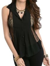 Black or Beige Lace & Chiffon Button Front Sleeveless Blouse Top S M L