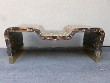 70'S TESSELLATED HORN COFFEE TABLE W BRASS FOOTING STYLE OF KARL SPRINGER
