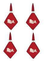 "C F Red Santa's Sleigh Christmas Holiday 20"" Square Cloth Napkins, Set of 4"