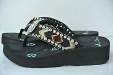 NEW MONTANA WEST Womens Sz 10 Rhinestone Cross Stitch Aztec Flip Flop Sandals