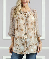 Plus Size 20 Blouse Sheer Taupe Floral Top With Tassels