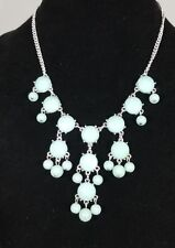 Silver Tone Faux Faceted Blue Larimar cabochons and round bead Lovely Necklace