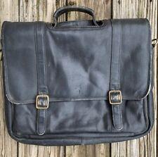 FRYE Logan Black Leather Messenger Bag Computer Laptop Business Briefcase Case