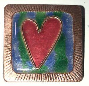 Handmade Copper Brooch/Pin - Red Enamel Heart Blue Green