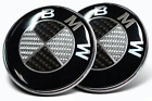 2PK BMW EMBLEM 82MM Black Carbon Fiber HOOD ORNAMENT BADGE E46 E60 E92 2 PIN