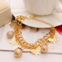 18k Gold Women's Chain Anklet Ankle Bracelet Butterfly With Multi Layers D610G