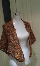 New Pure Wool Hand Knitted Shawl in Variegated Colours
