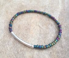 Dainty Rainbow Multicolour Seed Bead Surfer Bracelet Silver Stretchy Stacking