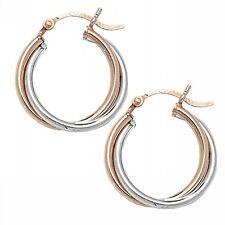 Sterling Silver and Rose Gold 2 Tone Twist Hoop Earrings Jewellery