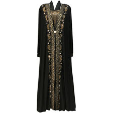 Gold Black Blue Brown Women Ladies Long Maxi Dress Abaya Loose UK Size 6 8 10 12