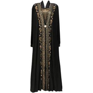 Gold Black Blue Brown Long Abaya Jilbab Kimar Maxi Loose Dress UK Size 6 8 10 12