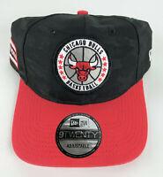 Chicago Bulls Baseball Adjustable Hat New Era 9Twenty Black Red w/Circle Logo
