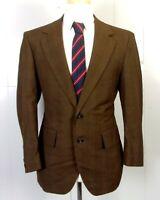 vtg 70s euc Palm Beach Men's 100% Wool Brown Plaid Blazer Sportcoat sz 40 S