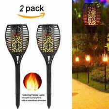 X2 96 LED Solar Torch Light Flickering Lighting Dancing Flame Xmas Wedding Lamps