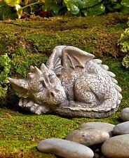 Realistic Stone Finish Sleeping Baby Dragon Outdoor Garden Statue