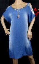 Sexy Kleid Tunika Sommer Strandkleid Hängerchen Shirt Jeans Glitzer Blau 42 44