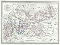 1843 MALTE BRUN MAP PRUSSIA GERMANY VINTAGE POSTER ART PRINT 2885PY