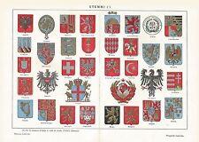 A6509 Stemmi Europei - Stampa Antica del 1930 - Cromolitografia