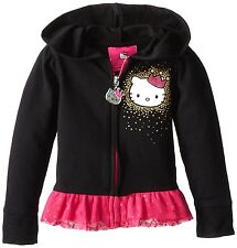 NEW Hello Kitty Girls' Ruffle Bottom Hoodie Hoody Size 4 Black Pink Tulle Trim